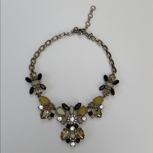 J.CREW Floral Black and Silver Statement Necklace